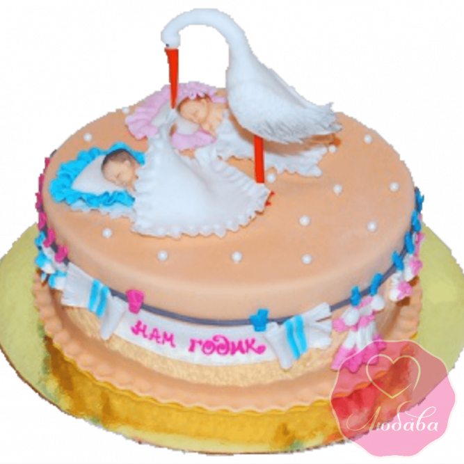 Торт с аистом для двойняшек №2007