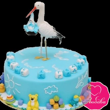 Торт на годик с аистом №2008