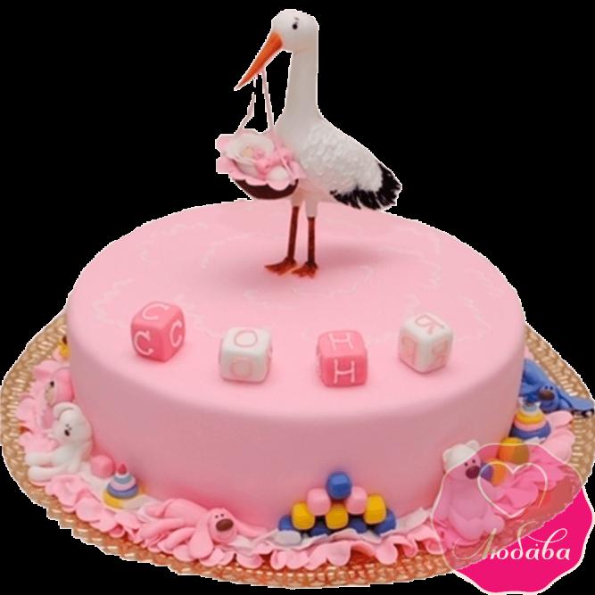 торт для девочки с аистом №2009
