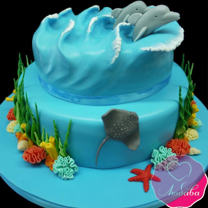 Торт с дельфинами №2020