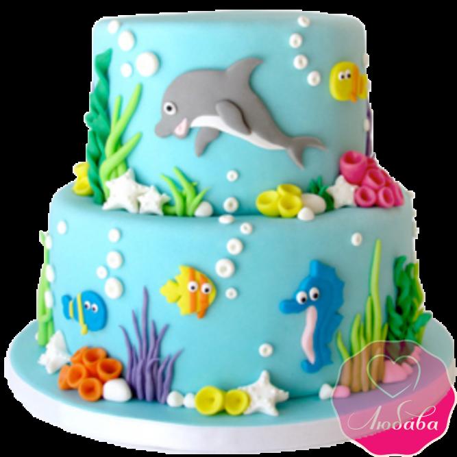 Торт морской мир с дельфином №2021