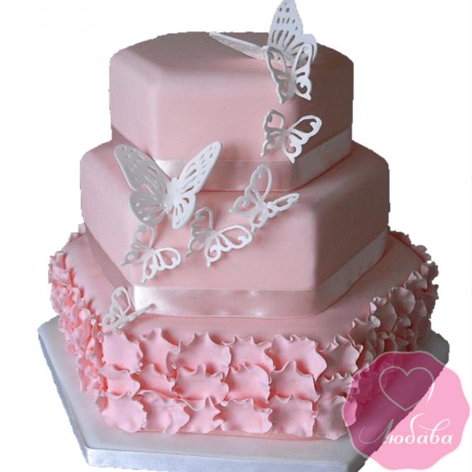 Торт с белыми бабочками №2023