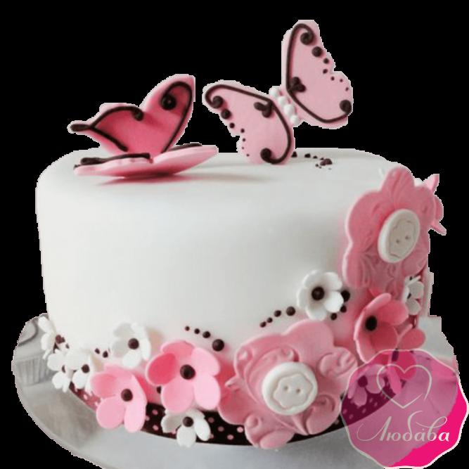 Торт с цветными бабочками №2024