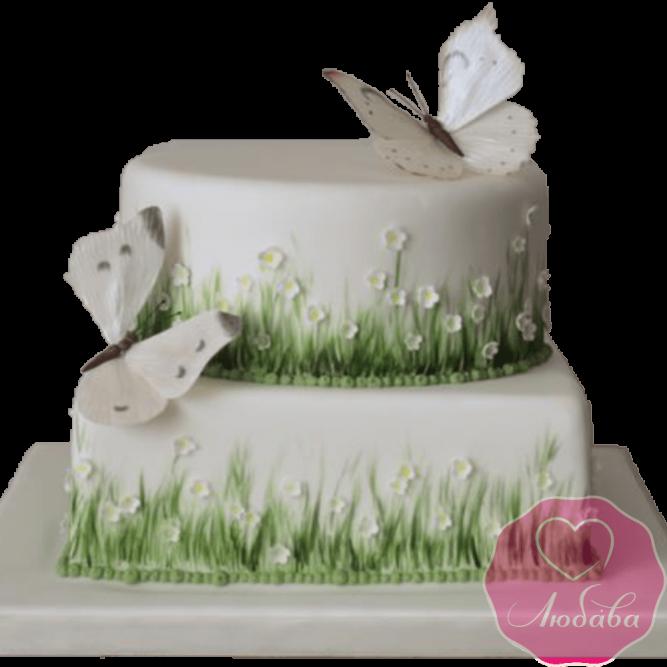 Торт с бабочками и цветами №2025