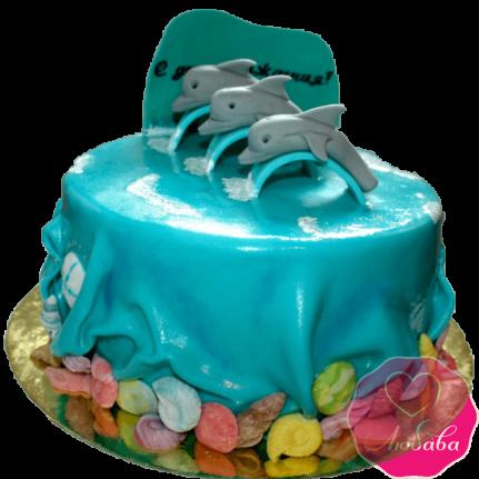 торт детский с дельфинами №2030