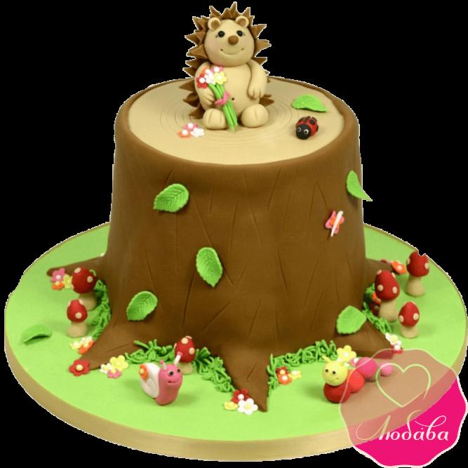 торт детский ежик на пеньке №2032