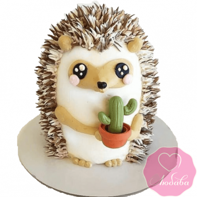 торт детский ежик с кактусом №2033