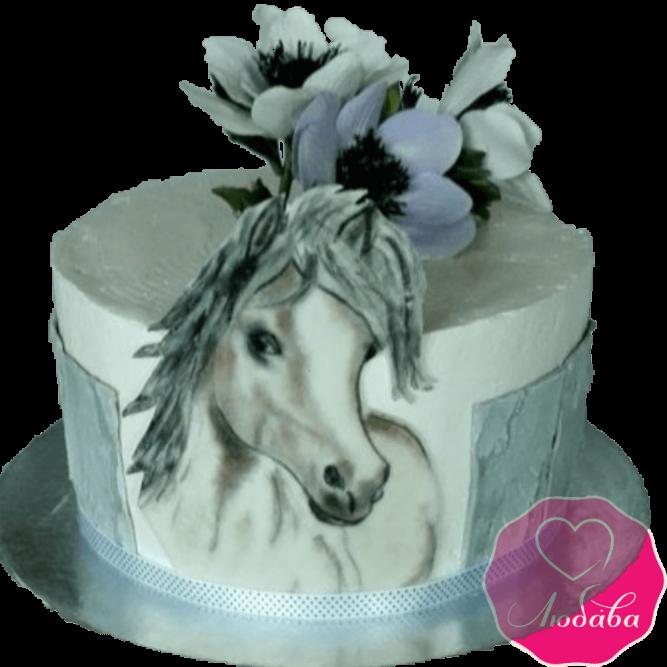 торт детский с лошадью и цветами №2042