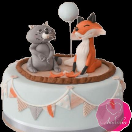 торт детский енот и лиса №2044