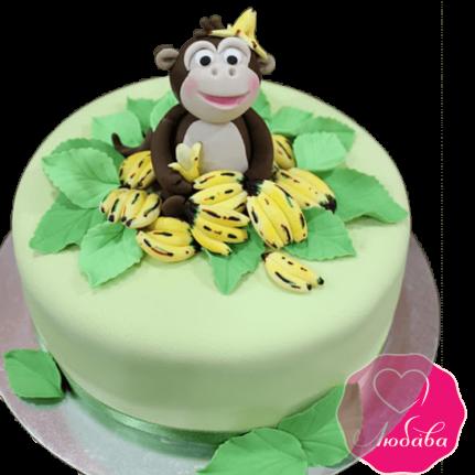 торт детский с обезьяной и бананами №2048