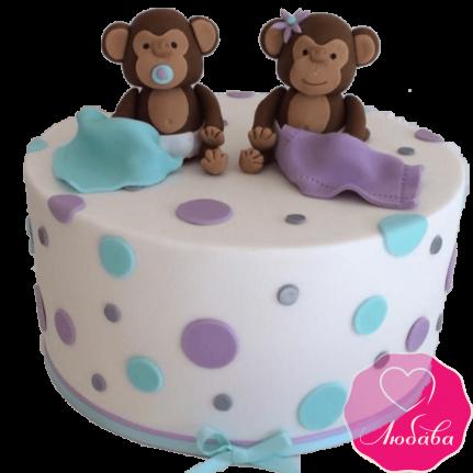 торт детский с обезьянками №2049