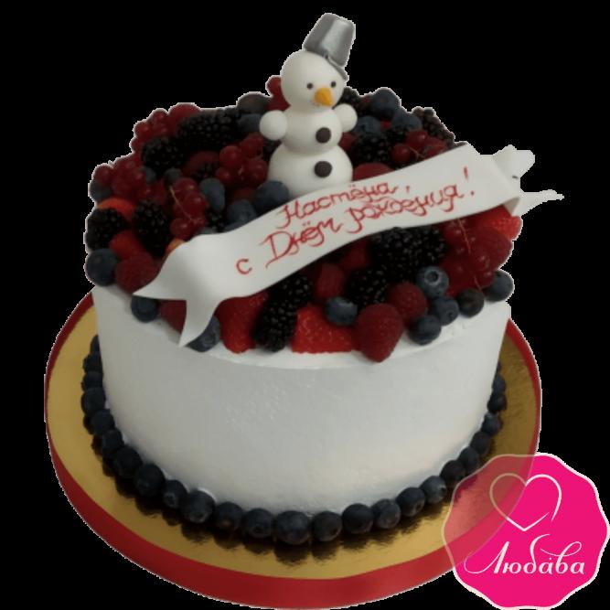 торт праздничный ягодный со снеговиком №2054