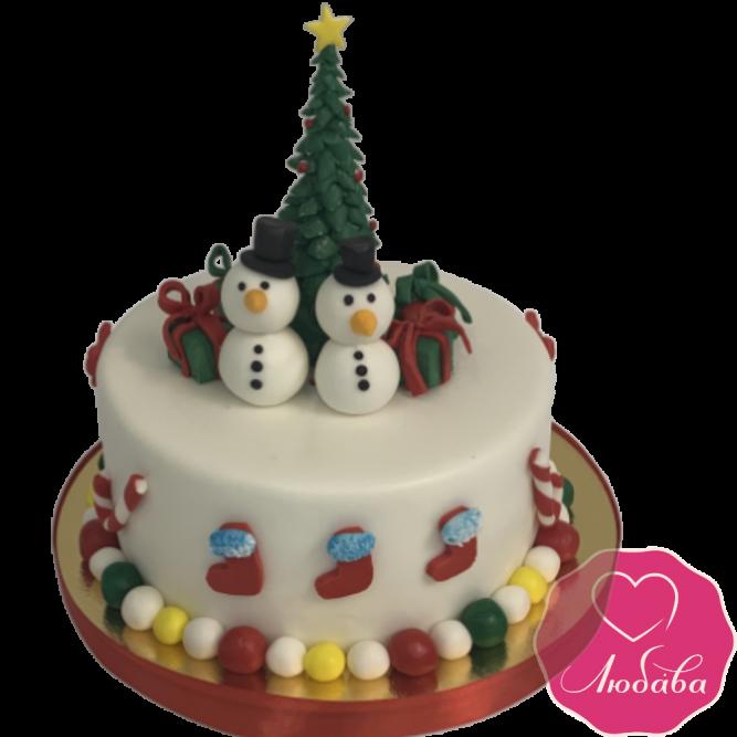 торт празничный со снеговиками №2063