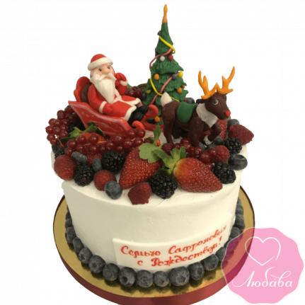 торт праздничный с Рождеством №2064