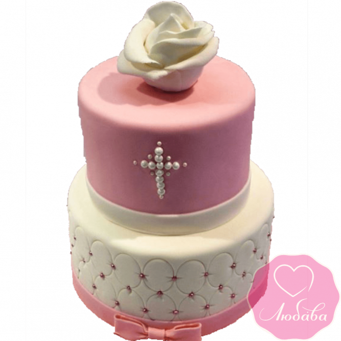 Торт детский на крещение новорожденного красивый №2067