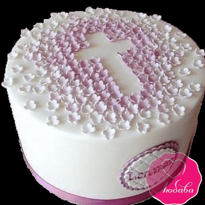 торт детский на крещение ребенка без мастики №2068