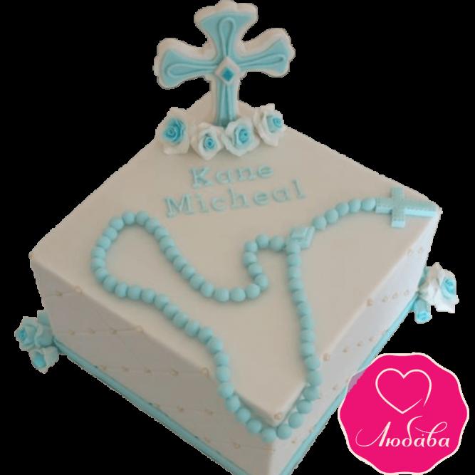 торт детский на крещение ребенка кремовый №2069