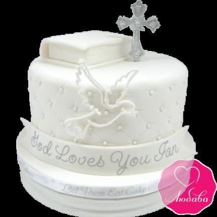 торт детский на крещение ребенка красивый №2071