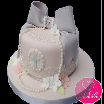 торт детский на крестины ребенка круглый №2074