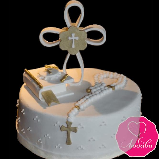 торт детский на крестины ребенка одноярусный №2075