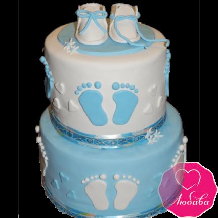 торт детский на крестины двухъярусный №2076