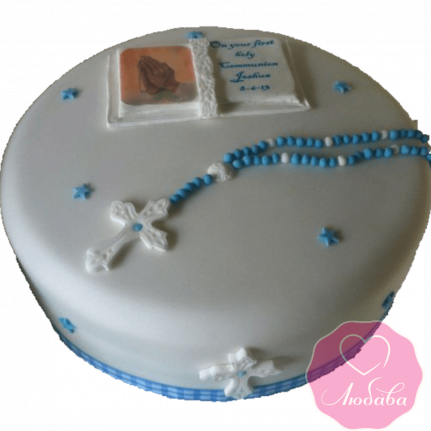 торт детский на крестины одноярусный №2078