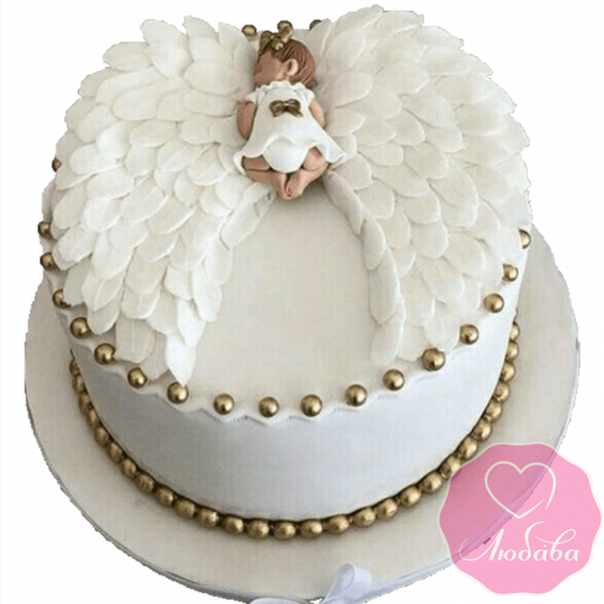торт детский на крестины белый №2080