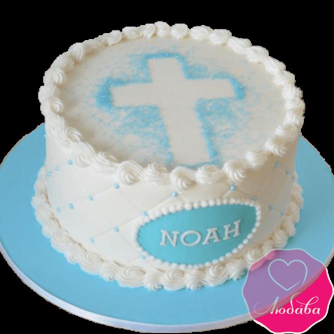 торт детский на крестины с мастикой №2081