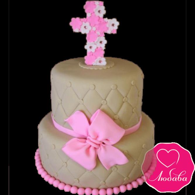 торт детский на крестины двухъярусный №2082