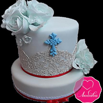 торт детский на крестины оригинальный №2084