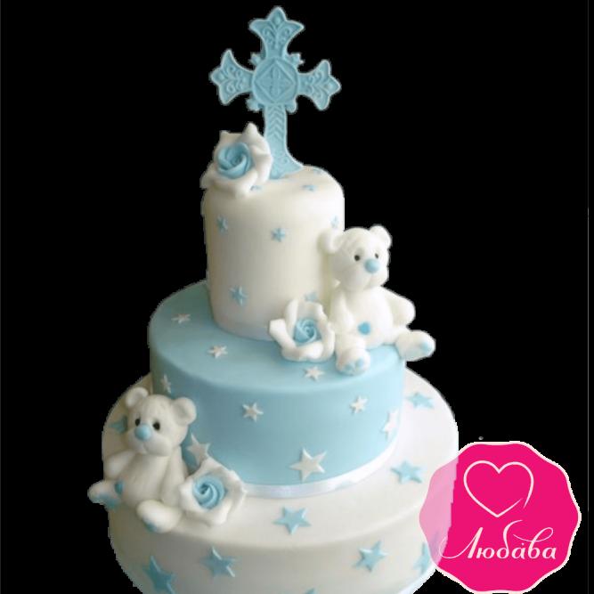 торт детский на крестины трехъярусный №2085