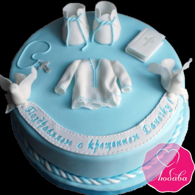 торт детский на крестины из мастики №2086