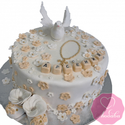 торт детский круглый на крестины №2088