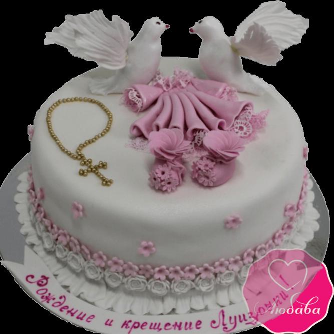 торт детский розовый на крестины №2089