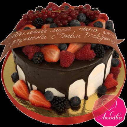 торт на день рождения фруктовый №2092