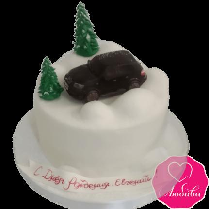 торт на день рождения с автомобилем оригинальный №2094