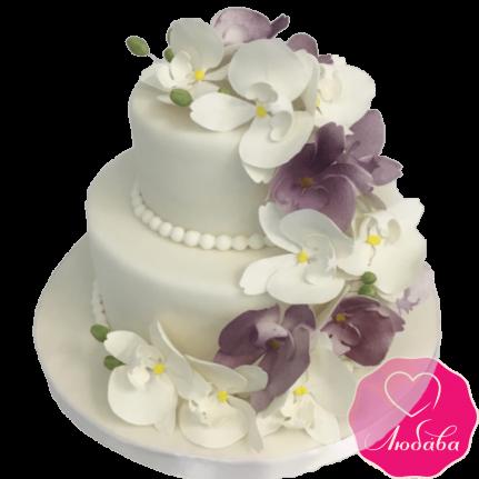 торт свадебный с орхидеями двухъярусный №2095