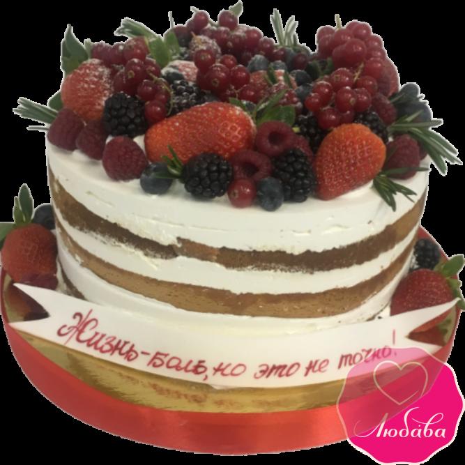 торт праздничный ягодный без мастики №2096