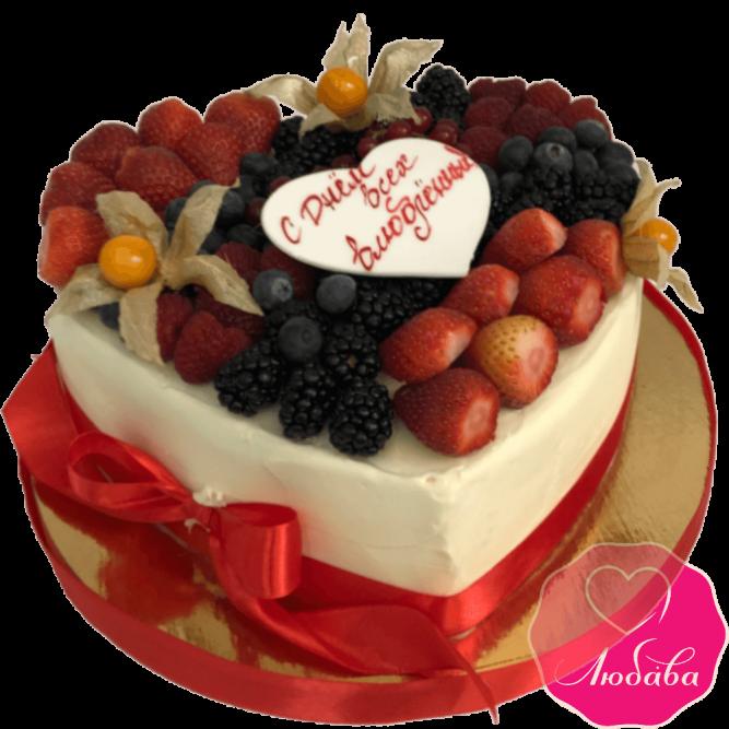 торт праздничный сердце без мастики №2101