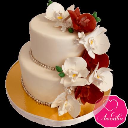 торт свадебный двухъярусный с орхидеями №2106