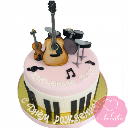 торт на день рождения музыкальные инструменты №2107