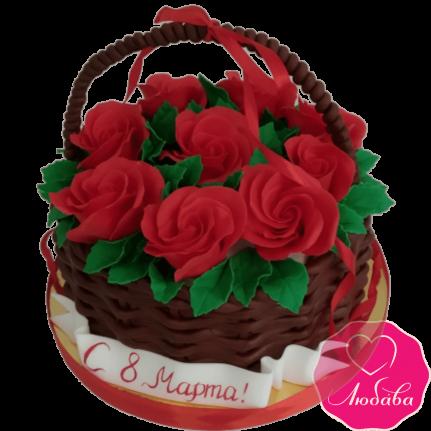 торт праздничный на 8 марта корзина с розами №2110