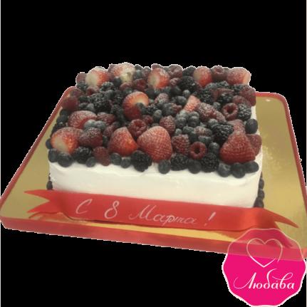 торт праздничный на 8 марта с ягодами №2111
