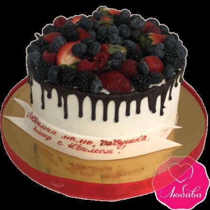 торт без мастики с ягодами №2115