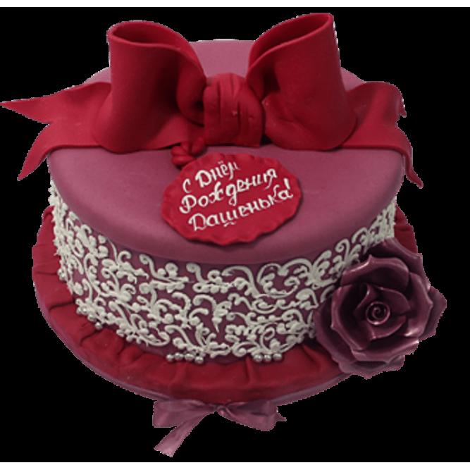 Торт Шкатулка с кружевным узором №529
