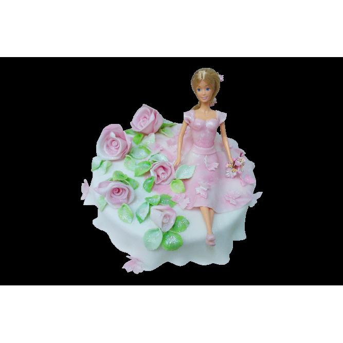 Торт Барби и розы №286