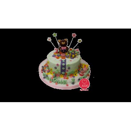 Торт Мишка и цветы №981