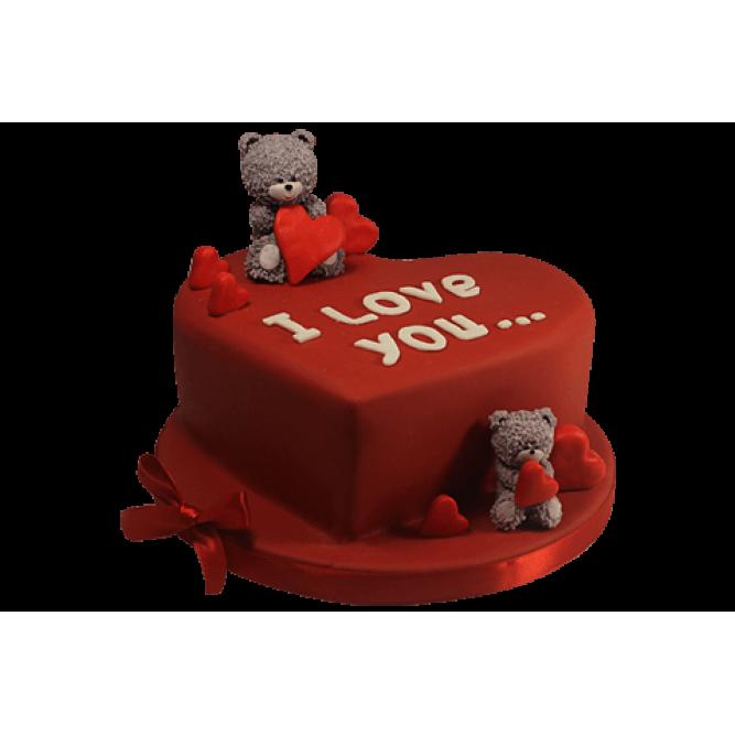 Торт Мишки с красными сердечками №513