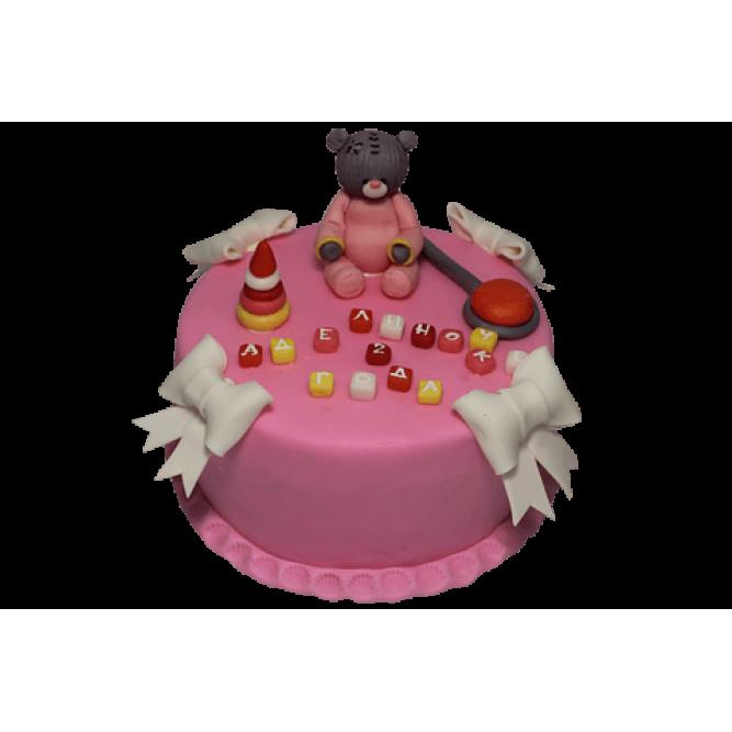Торт Мишка и белые банты №472