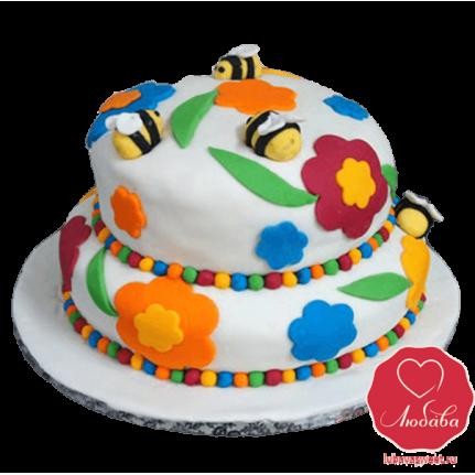 Торт пчелки на цветах №802